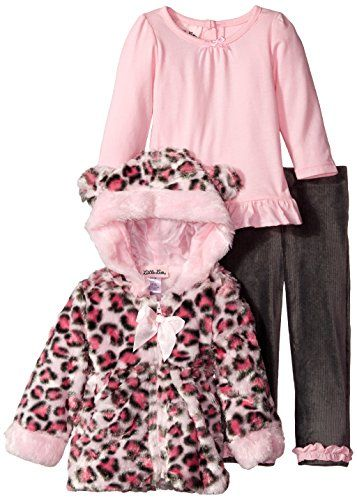 aa2e01d0c8c2 Little Lass Baby Girls 3 Piece Fur Jacket Set Cheetah Ears Pink 12 Months  >>> Click on the image for additional details.