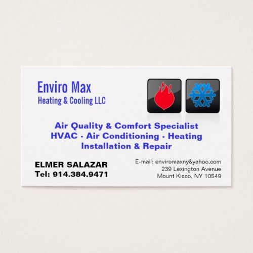 Customizable Heating Cooling Bc Business Card Zazzle Com