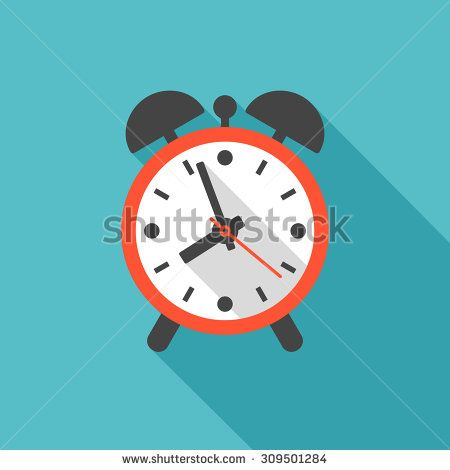 Alarm Clock Icon With Long Shadow. Flat Design Style   Stock Vector