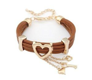 Brown Leather 10K Gold Plated Hear