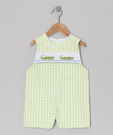 Take a look at this Lime Gingham Alligator John Johns - Infant & Toddler by Petite Palace on #zulily today!