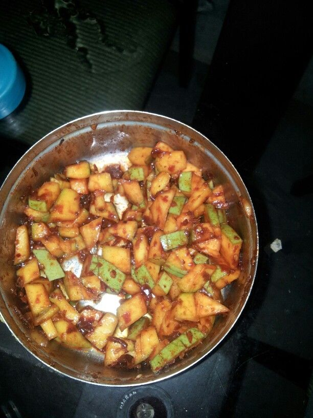pickled mango....but this picklimg u wont get it in bottles only from kerala