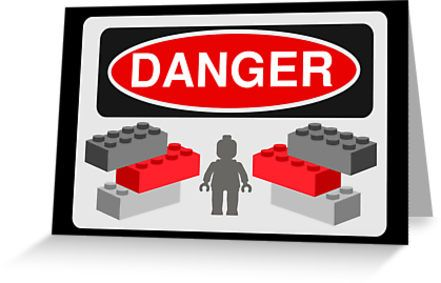 """""""Danger Bricks & Minifig by Customize My Minifig """" Greeting Cards & Postcards by ChilleeW 