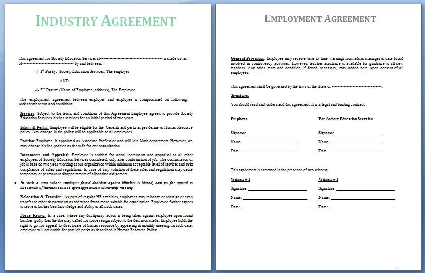 An Industrial Agreement is usually a settlement reached between - employment agreement in pdf