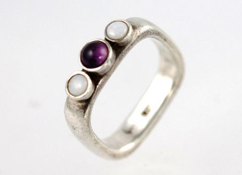 Boho Ring Sterling Silver Opal Amethyst Stackable – Yourgreatfinds