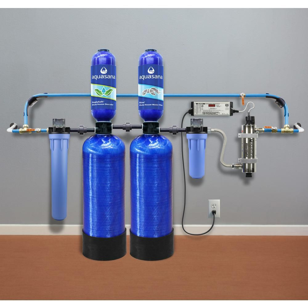 Aquasana Rhino Series 6 Stage 500 000 Gal Well Water Filtration System W Whole House Salt Free Water Conditioner And Uv Filter Thd Well Bundle The Home Depo In 2020 Water Softener Water Filtration Home Water