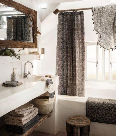 anthrazit/naturweiß. badematte aus baumwolle mit musterdruck, Badezimmer ideen