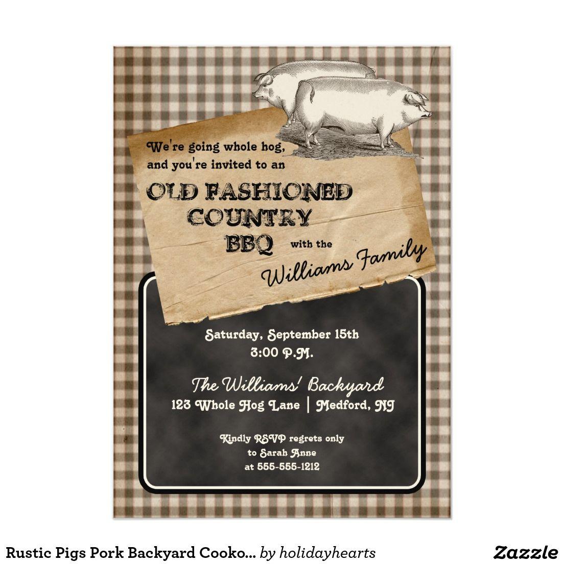 rustic pigs pork backyard cookout bbq picnic card pigs