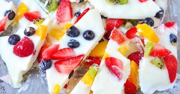 Frozen Yogurt Fruit Bark | Recipe | Frozen fruit, Frozen yogurt and Frozen