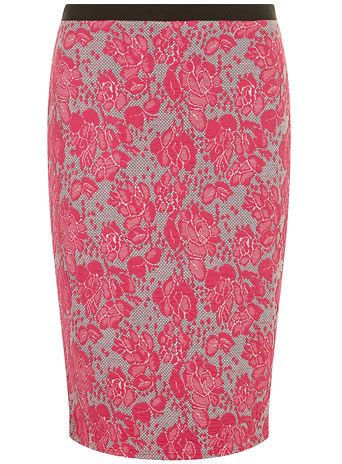 As much as I HATE lace...colored lace at that, however, I really like this #Pinktexturedpencilskirt from Dorothy Perkins