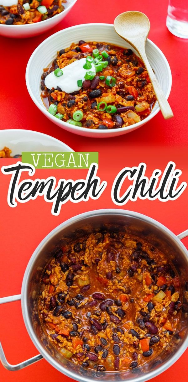 Tempeh Vegetarian Chili This healthy Vegan Tempeh Chili recipe will warm your bones with delicious plant-based protein this winter (and it's a meal in under 30 minutes!) It's packed with nutrients, fresh vegetables, and flavor that will make your whole family fall in love with this winter dinner recipe.