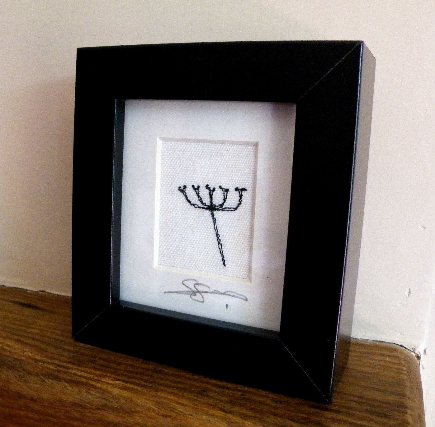 Free-machine embroidered framed silhouette picture by WildgooseDesigns on Etsy