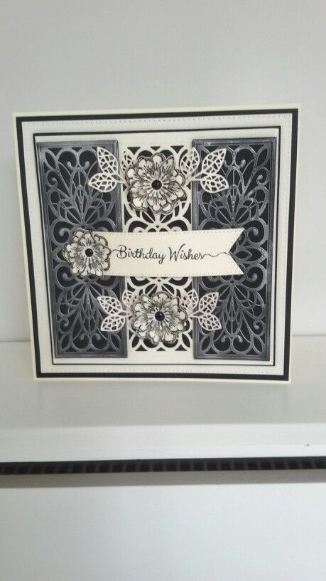 Black & cream card - I used silver gilded wax on the 2 end panels