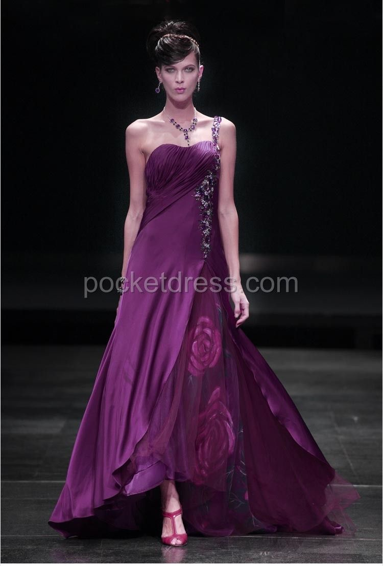 Purple One Shoulder Prom Dress with Beadings Ang Painted Flower ...