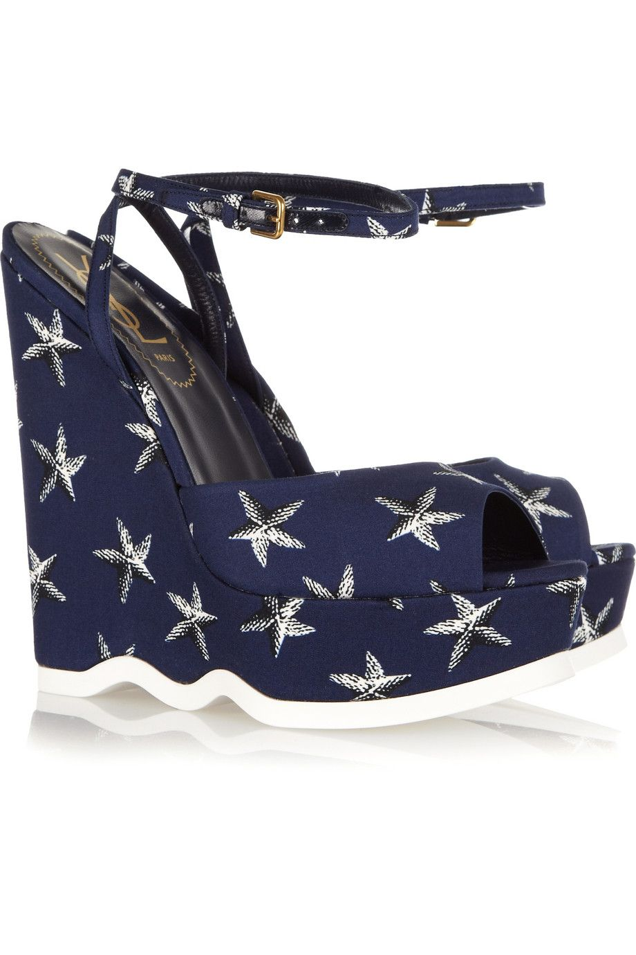 Yves Saint Laurent Riviera Starfish Peep-Toe Wedges find great cheap price cheap shop for wide range of cheap online NAnc6syHy