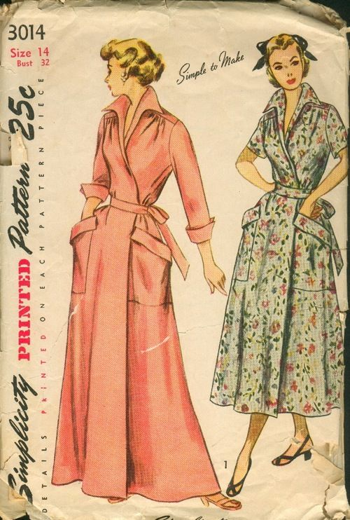 Simplicity 3014  ©1949  Misses  and Women s One-Piece Wrap-Around Housecoat  or Brunch Coat  The wrap-around coat has an inset belt ending in ties which  ... e77196d9b