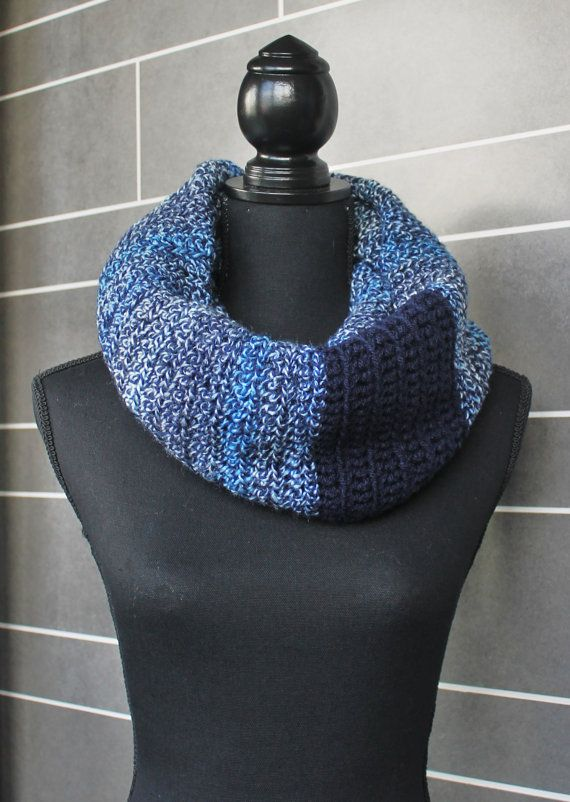 Navy and Variegated Blue Infinity Scarf wrap fit by nimwitstudio