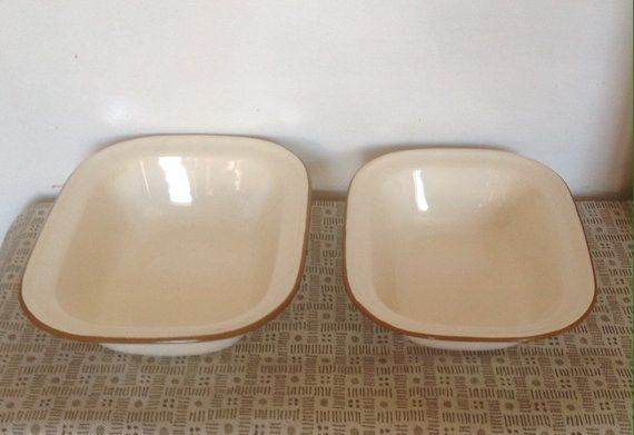 A Pair Of Rectangle Enamelware Oven Dishes Circa 1940s 50s In The