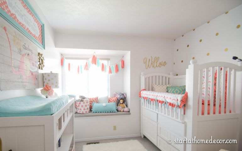 Coral and Teal Nursery images