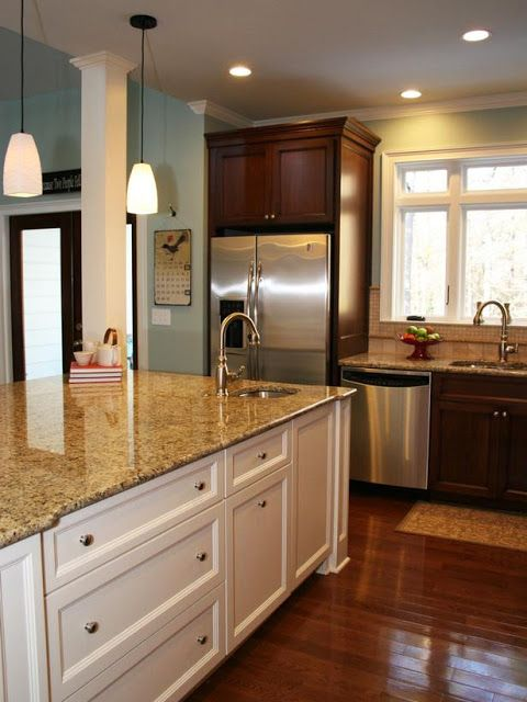 Cherry Kitchen Island Budget Cabinets Updating A Traditional