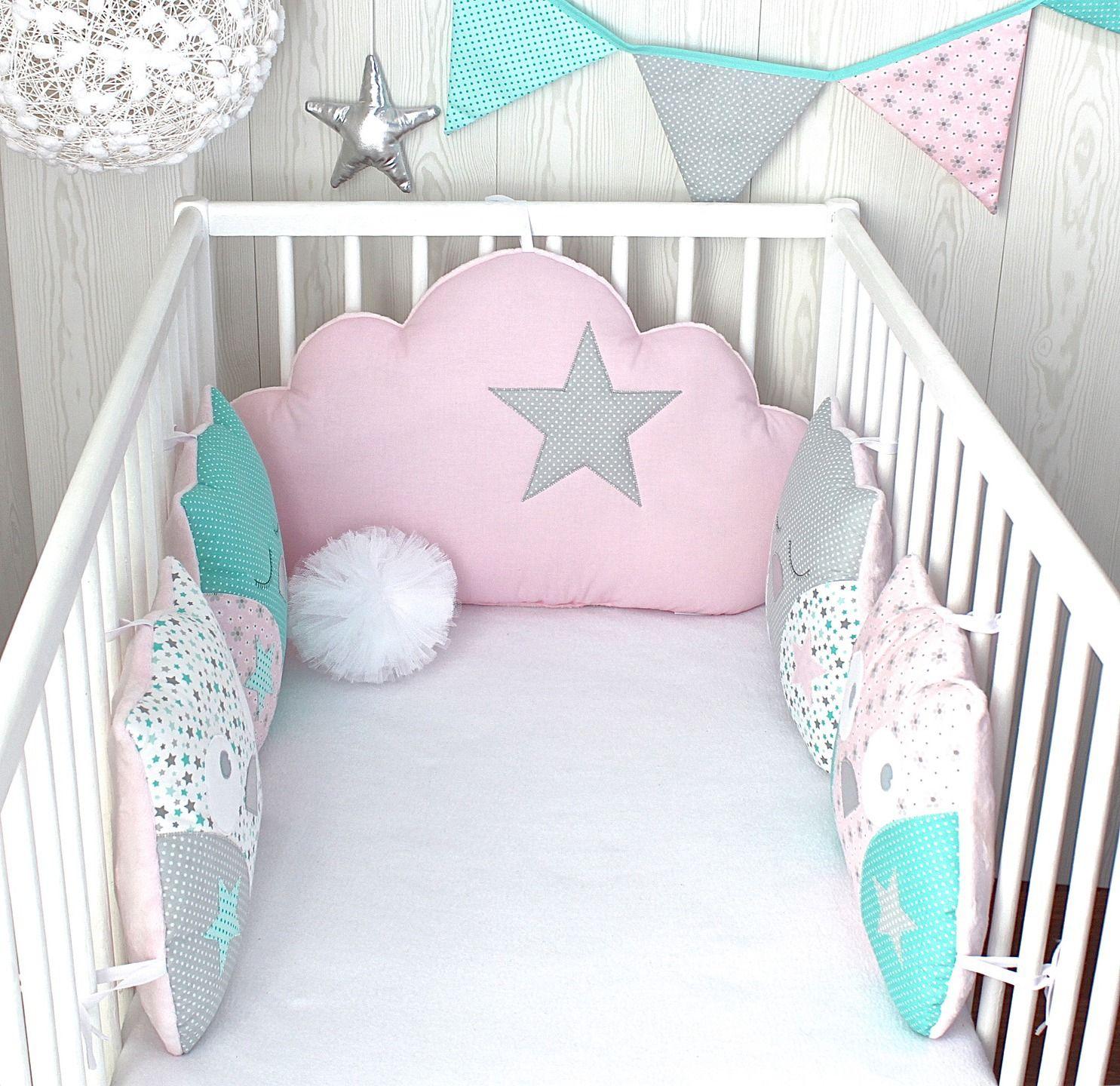 tour de lit 5 coussins hibou et nuage couleur vert d 39 eau rose et gris baby rooms pinterest. Black Bedroom Furniture Sets. Home Design Ideas