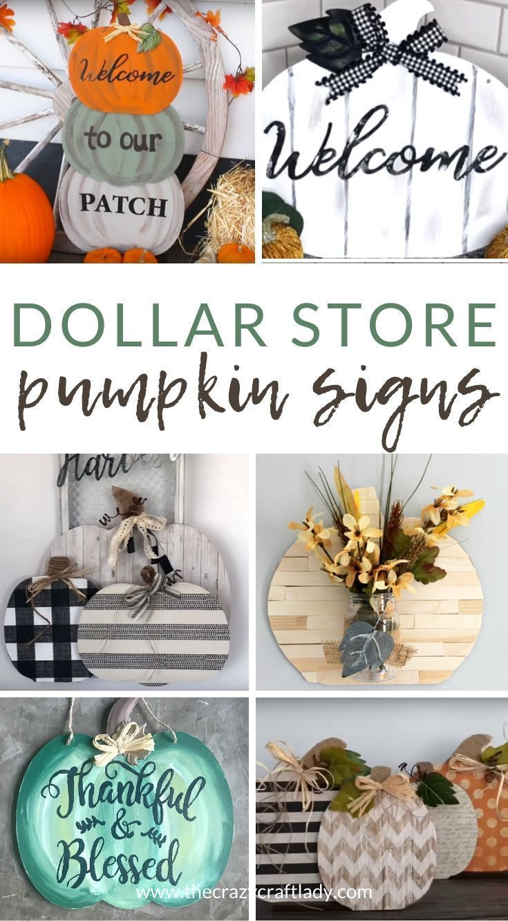 Dollar Store Pumpkin Signs and Door Hanger Crafts