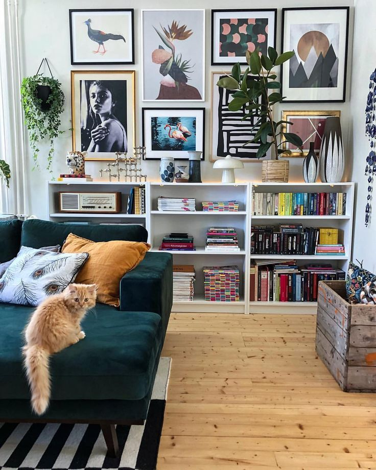 Livingroom Sofa Velvet Green Gallery Wall Eclectic Picture Ikea Billy Bookcase White Woods Floors Plants #diywalldecor