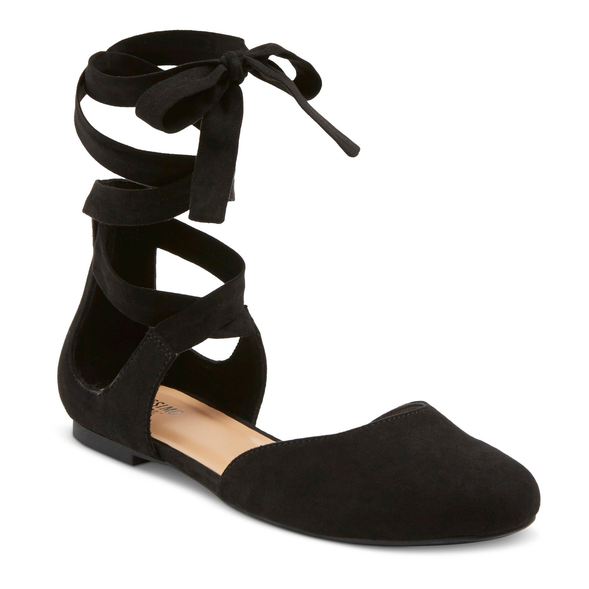 c2eb0540c90566 Women s Tess Ghillie Flat Lace Up Ballerina Round Toe Ballet Flats -  Mossimo Supply Co. Black 8