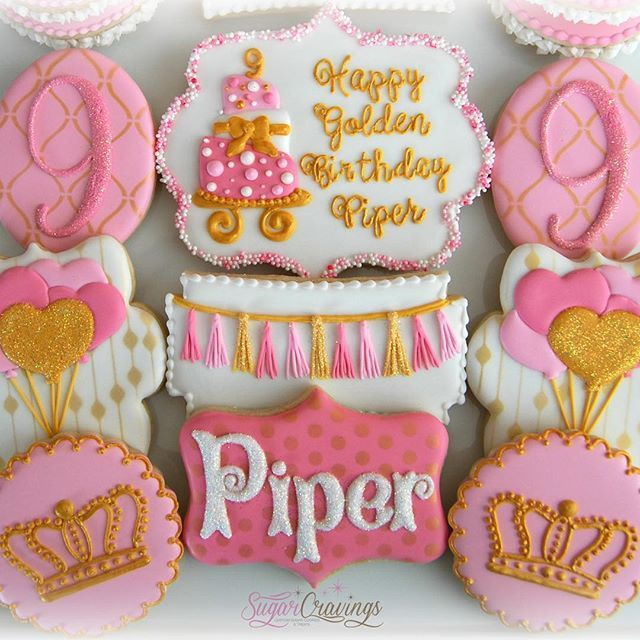 Happy Golden birthday Piper!! **tassel cookie design originally done by my amazing friend @hayleygolightly_ from Bee Sweet Confections. #sugarcravings #sandiego #decoratedcookies #birthdaycookies #pinkandgold