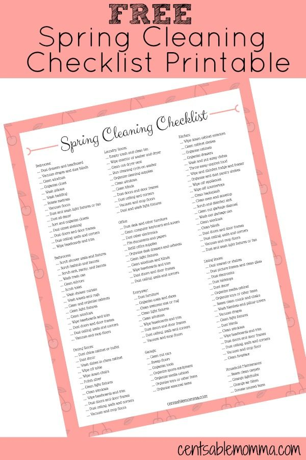 FREE Spring Cleaning Checklist Printable Organizing, Spring and