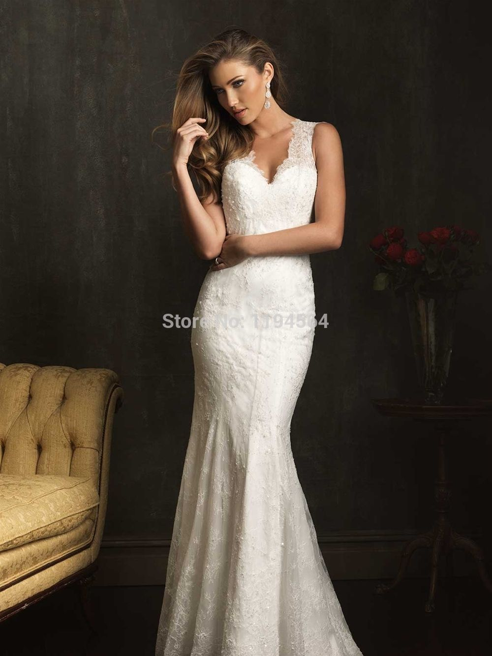 Mermaid lace wedding dress  Click to Buy ucuc Sheath Mermaid Lace Wedding Gowns  Beading