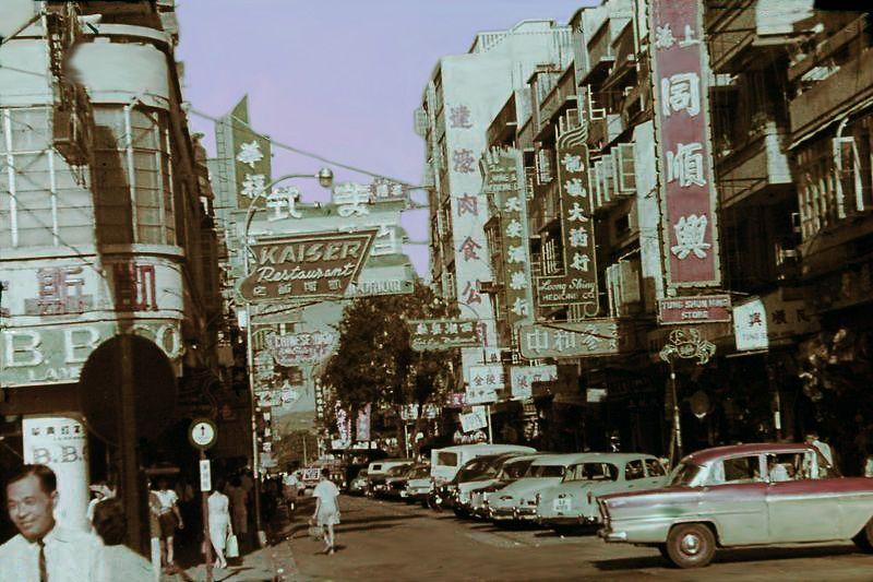 Late 50s Granville Road   Hong kong. British hong kong. Street view