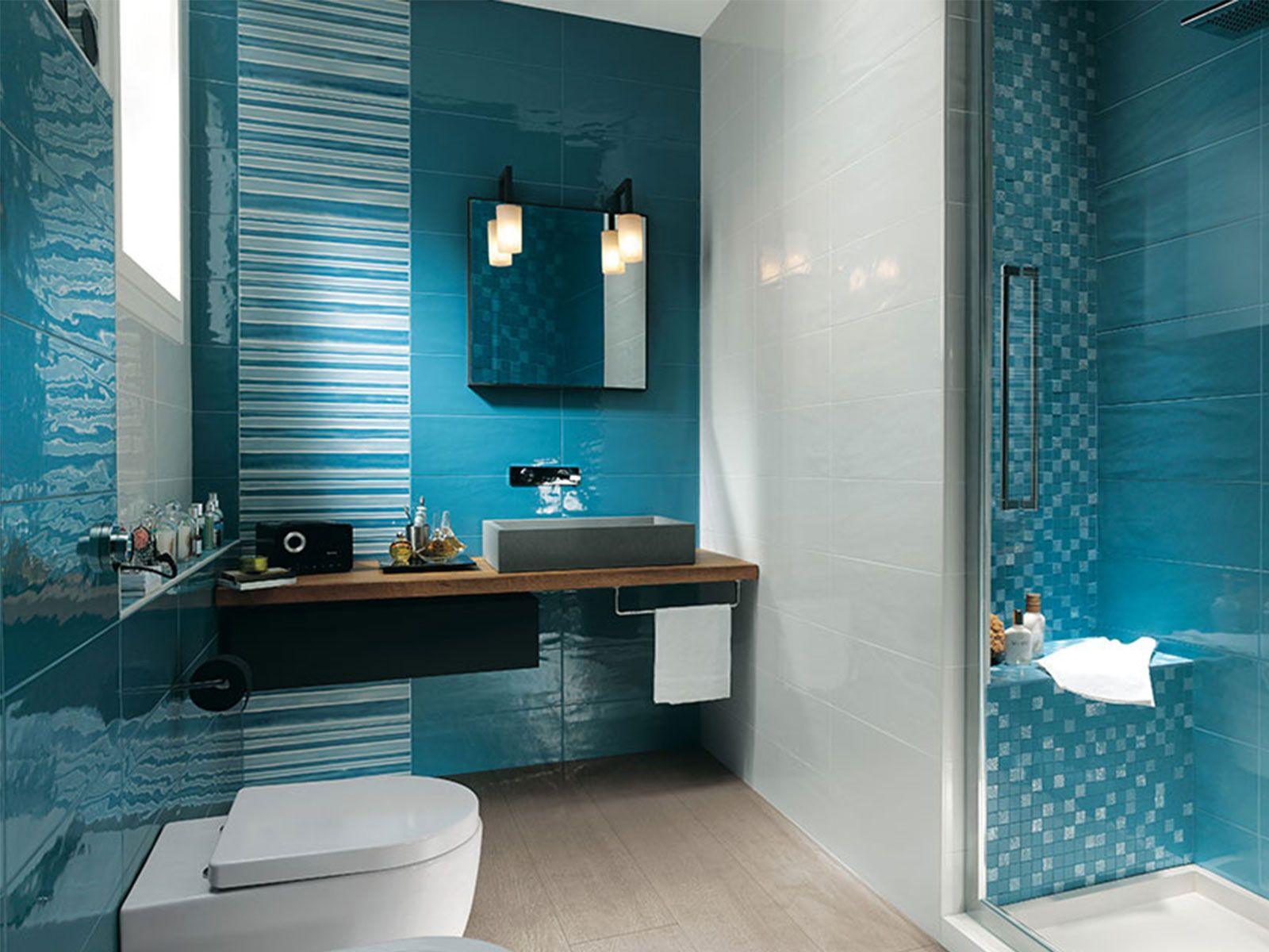 charming blue bathroom color schemes | Aqua Blue Bathroom Designs | Kuyaroom.com in 2019 | Blue ...