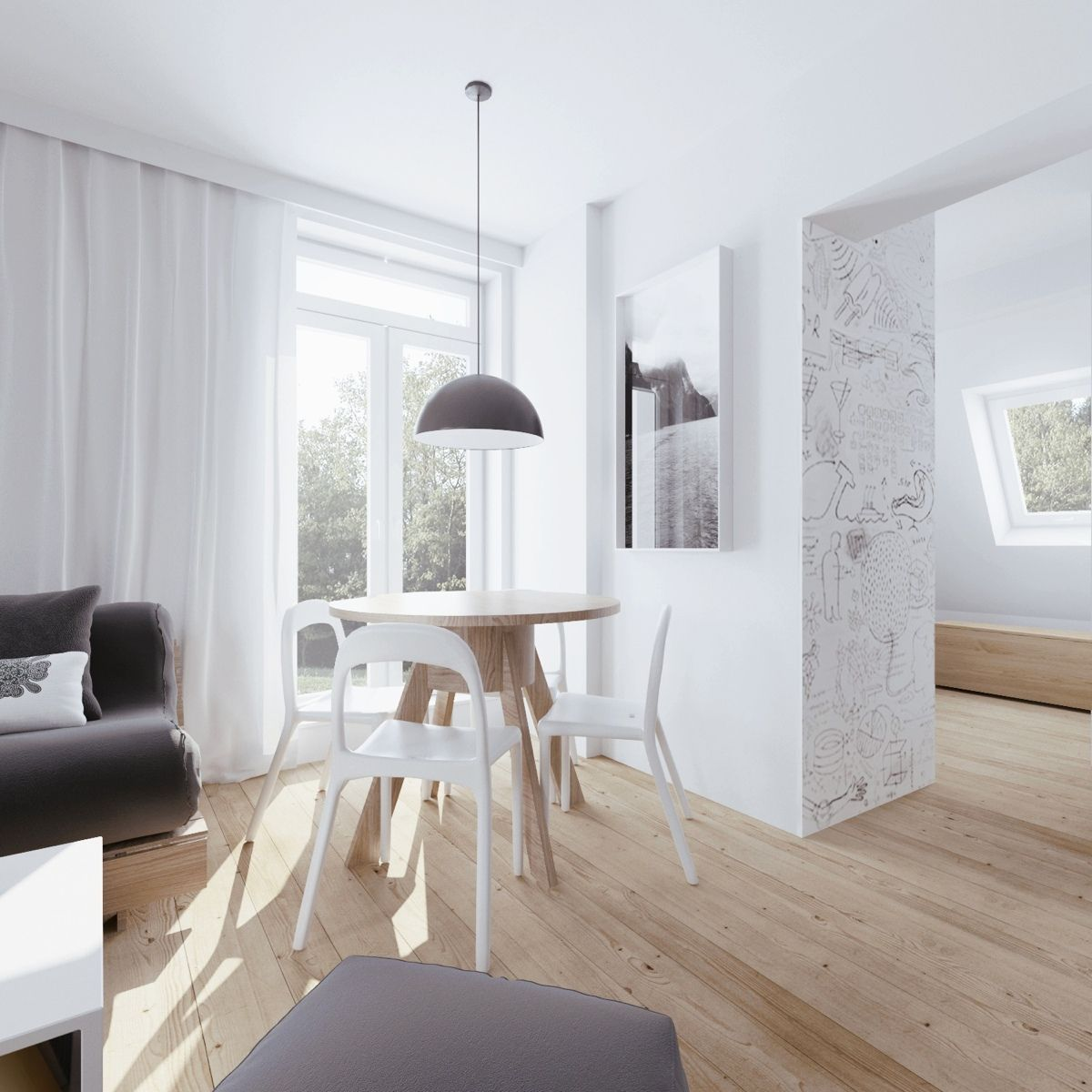 Minimalist Apartment Design With Soft Color Scheme. Attic  ApartmentApartment Interior DesignClever DesignRound Dining TablesDecor ... Good Ideas