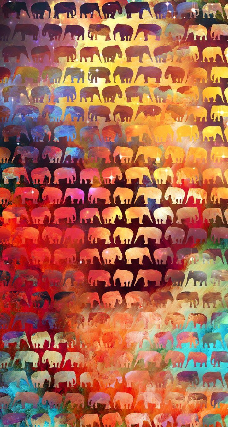 Colorful elephant wallpaper Wallpaper ideas iPhone