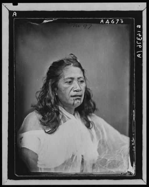Maori woman with moko (facial tattoo) - American Photographic Company (Auckland)