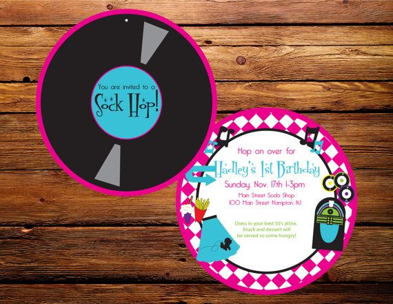 1950s Hot Pink Teal Sock Hop Invitationby Party Like Paula
