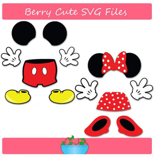Mickey Mouse and Minnie Mouse Parts Set Svg by BERRYCUTESVGFILES