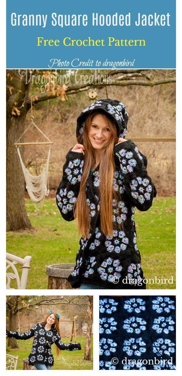 Granny Square Hooded Jacket Free Crochet Pattern