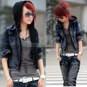 Women Denim Jacket Attached Black Sweatshirt Hoodie In One Jean Jacket Coat Distressed Denim Jacket Denim Jacket Women Denim Jacket