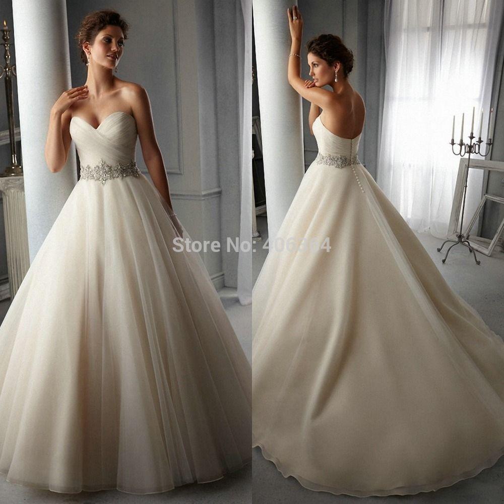 Sweetheart ball gown wedding dress  PleatedSweetheartBallGownWeddingDressWithRhinestoneBelt