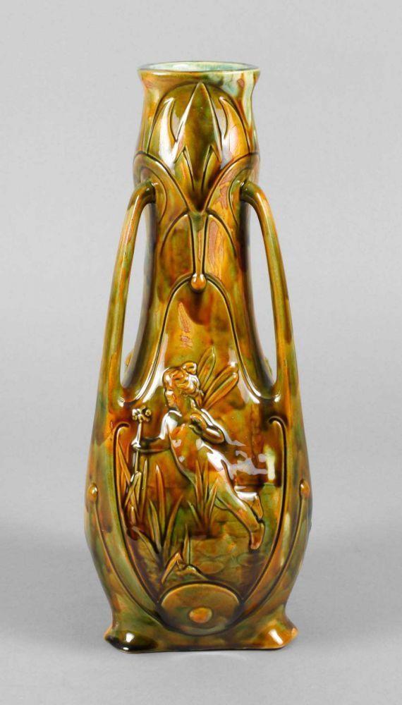 """Frankreich Vase Feenmotive um 1900, gemarkt """"F.F.A.S. Made in France"""", Künstlermonogramm """"S. HP"""","""