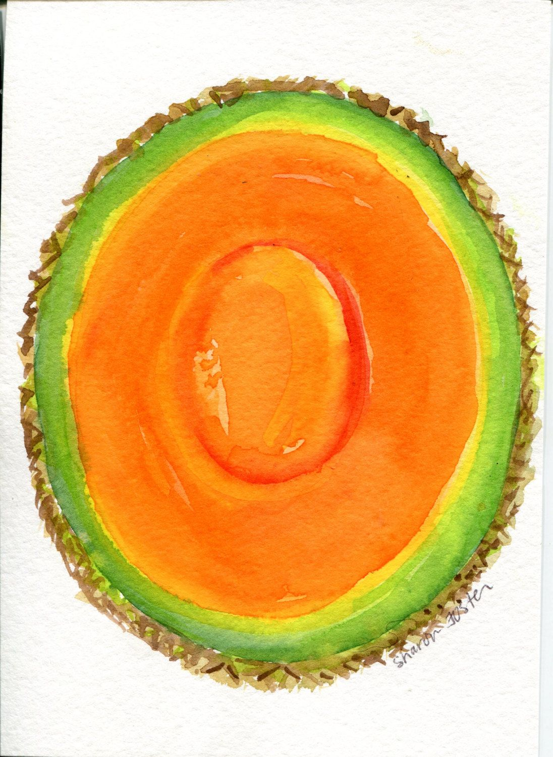 Cantaloupe Watercolors Paintings Original, muskmelon painting ...