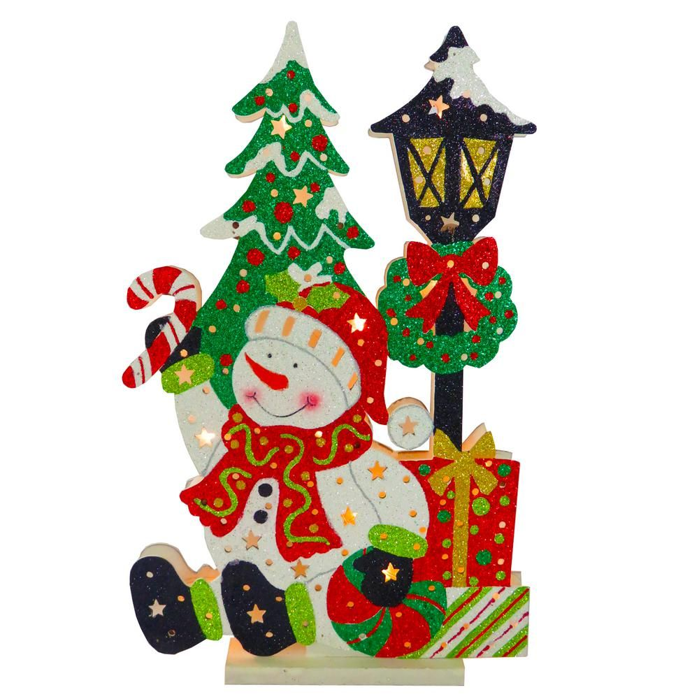 National Tree Company PreLit 17.5 in. Wooden Snowman