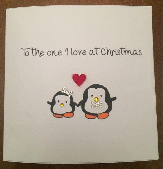 Penguin Christmas Cards Homemade.Cute Homemade Penguins Christmas Card Boyfriend Girlfriend