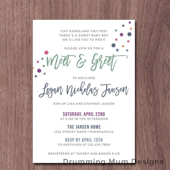 Modern Sip And See Invitation Girl Boy Baby Shower Meet