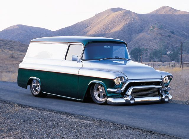 55-57 Chevy Panel Truck with GMC bumper/grill chrome - I'd