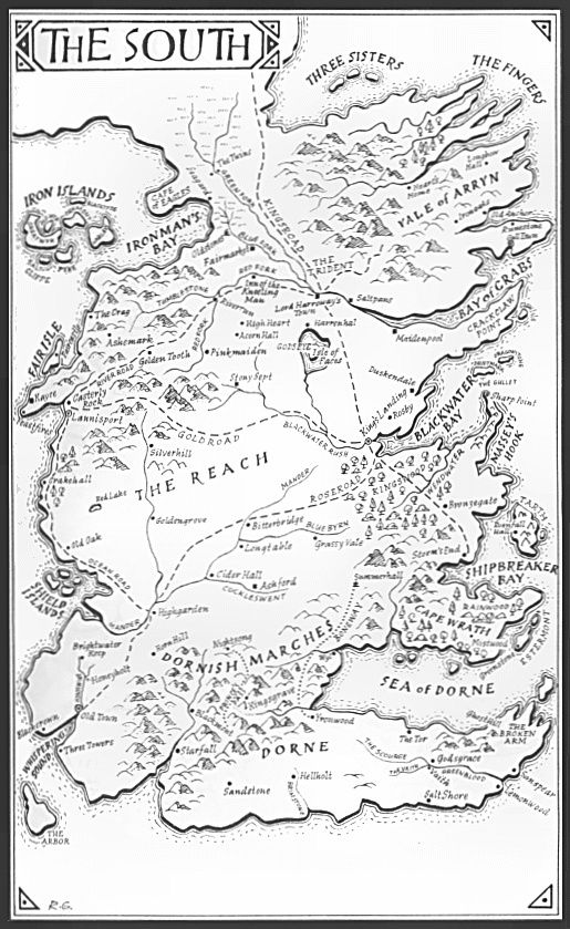 Map Westeros South Black Amp White Game Of Thrones