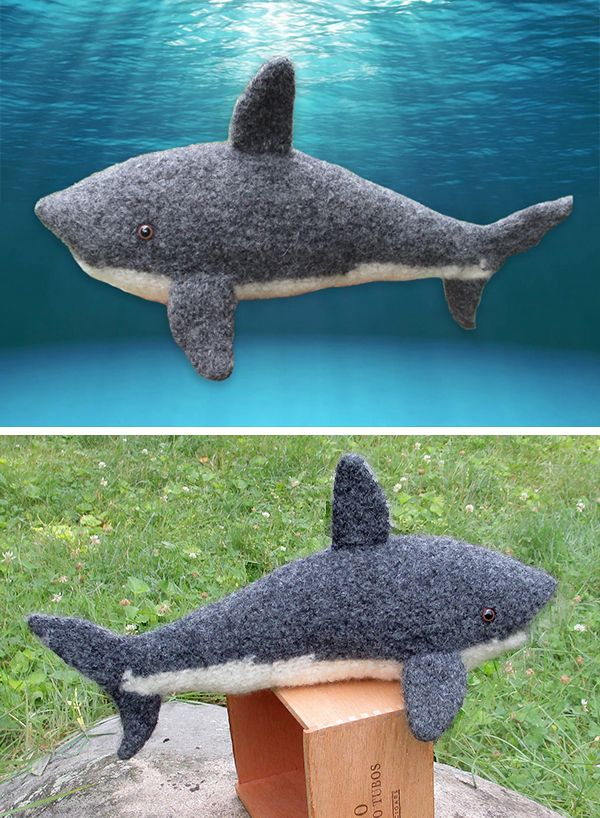 Free Knitting Pattern for Great White Shark Toy softie