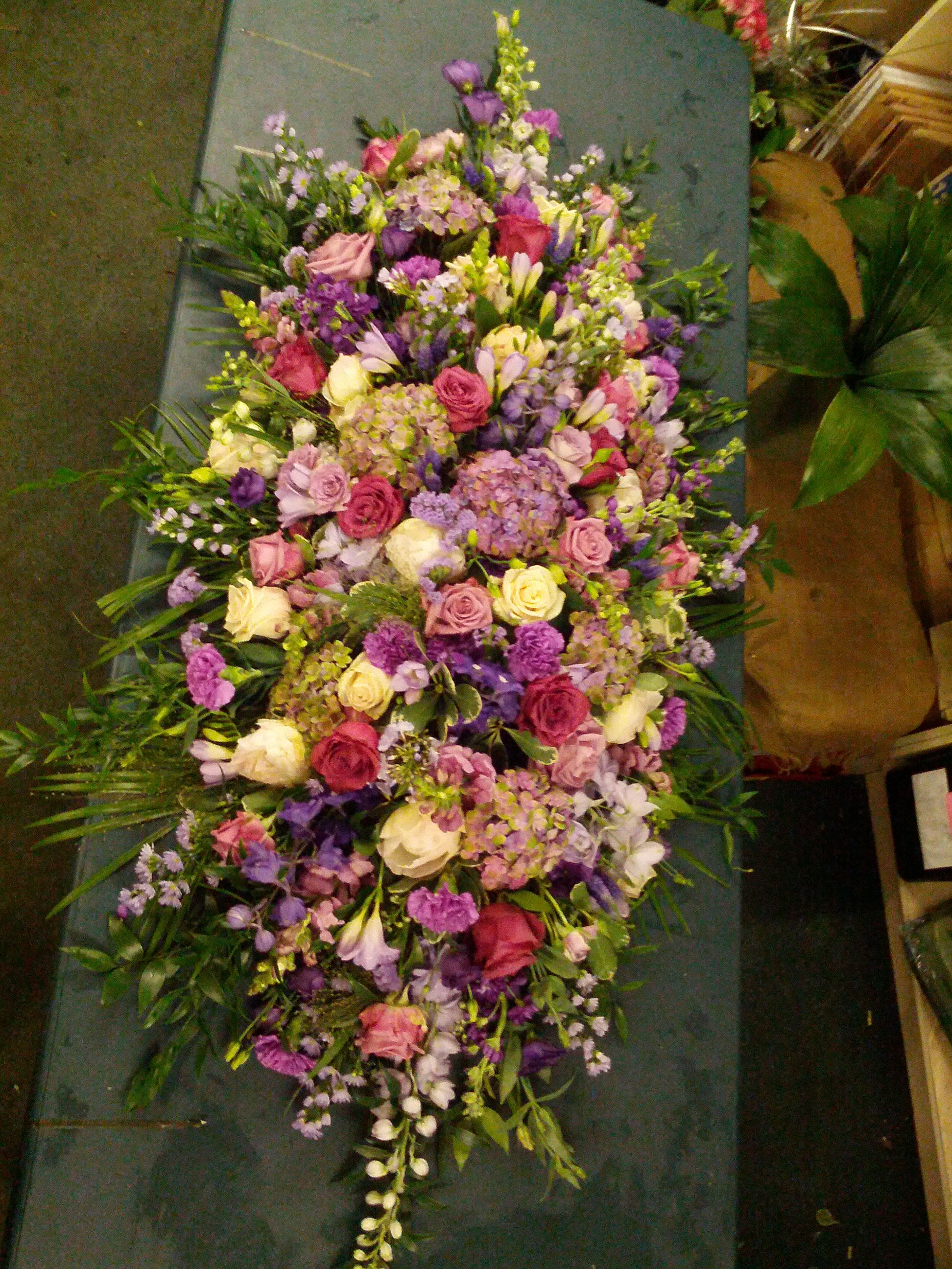 Pink and white Casket arrangement by Vicky | Funeral ...  |Casket Flowers